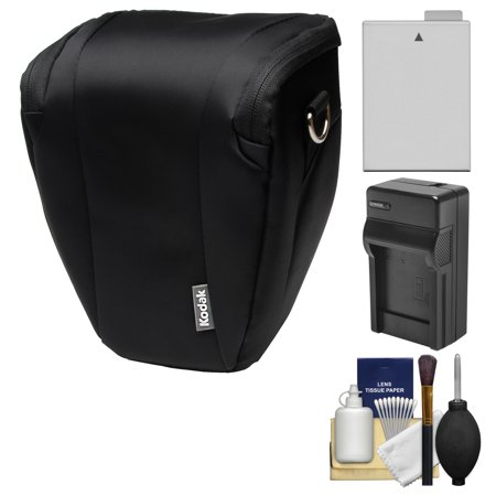 Kodak Deluxe Top-Load DSLR Camera Holster Case (Black) with LP-E8 Battery & Charger + Cleaning Kit for Rebel T3i, T4i, T5i