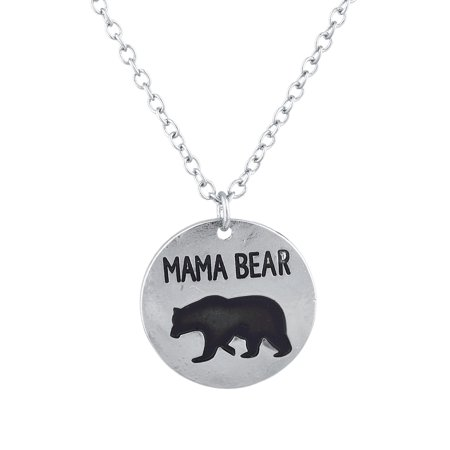 Lux Accessories Silver Tone Mama Bear Mother's Day Circle Charm Pendant Necklace - Mother's Day Charms