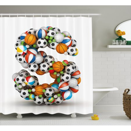 Letter S Shower Curtain, Boys Kids Sports Design Match Competition Children Capital S Initials Name Print, Fabric Bathroom Set with Hooks, Multicolor, by Ambesonne (Boys Shower)
