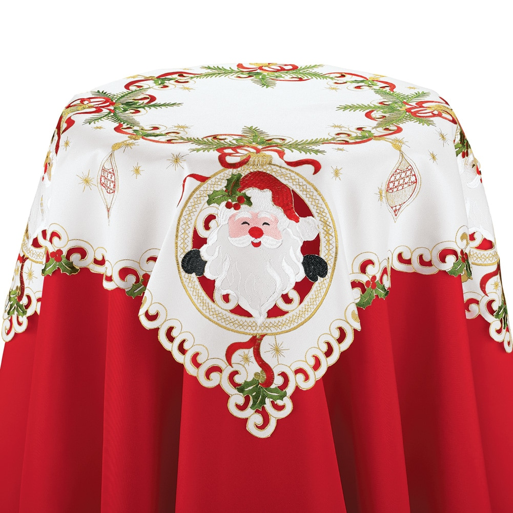 Christmas Santa Claus Table Linens, Square, Multi by Collections Etc
