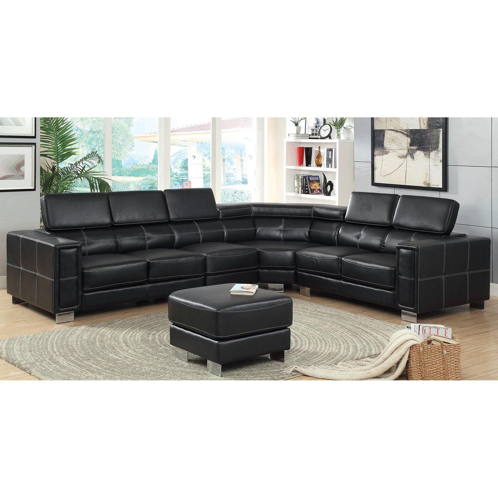 Furniture of America Becks Sectional Sofa Black Walmart