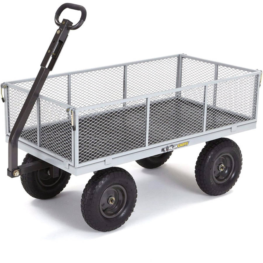 Gorilla Carts GOR1001-COM Heavy-Duty Steel Utility Cart with Removable Sides, 1,000 lb Capacity, Grey