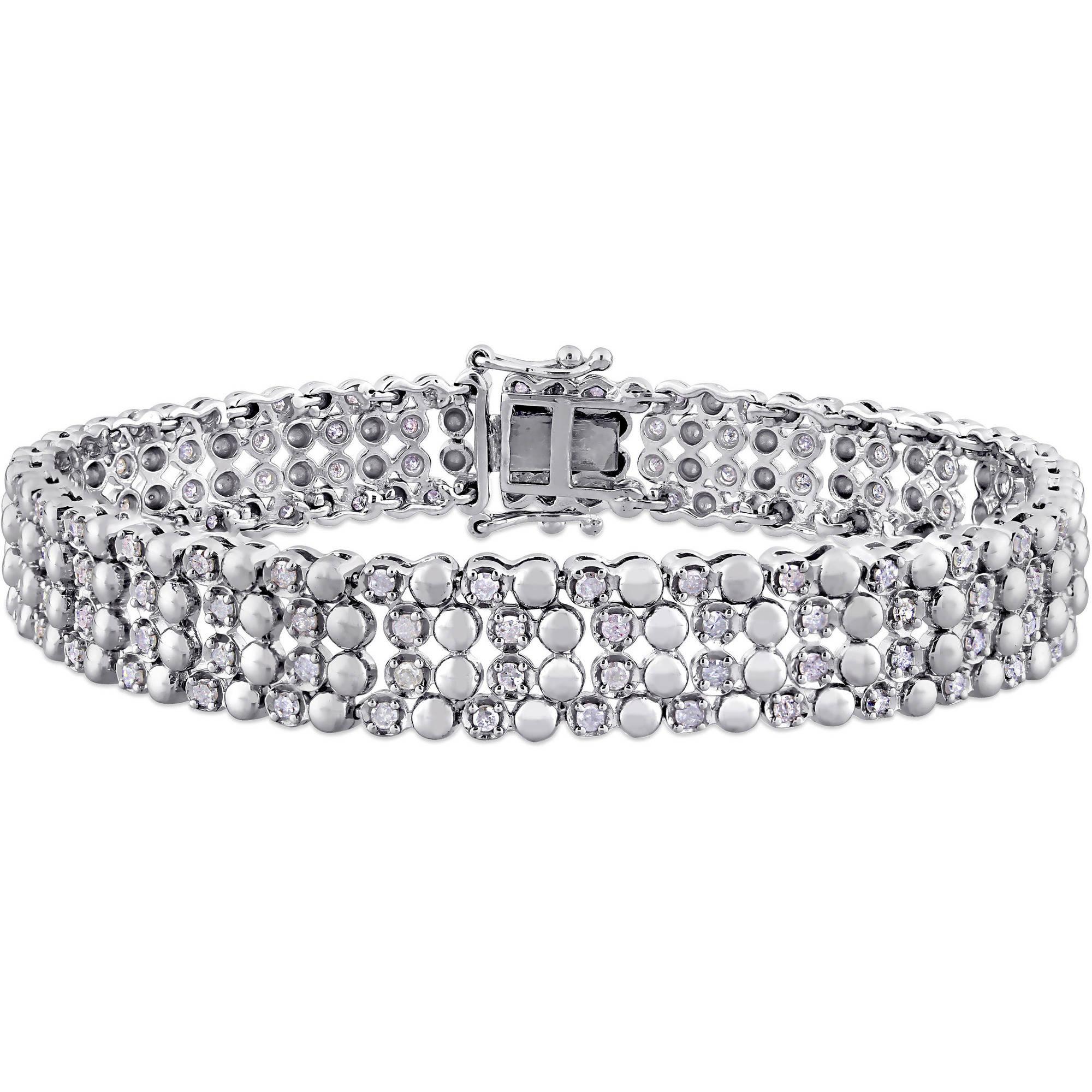 "Miabella 2 Carat T.W. Diamond Sterling Silver Four-Row Tennis Bracelet, 7"" by Generic"