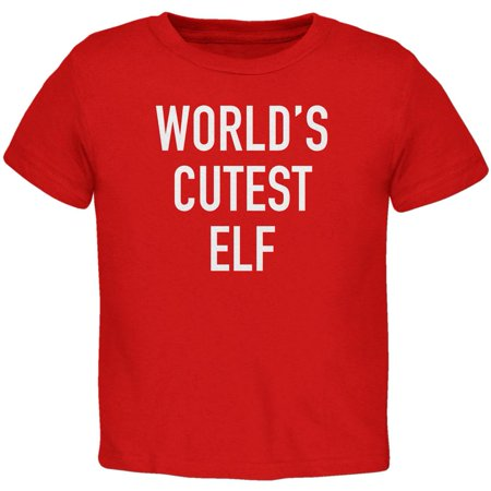 Christmas Worlds Cutest Elf Red Toddler - Cutest Kid Clothes