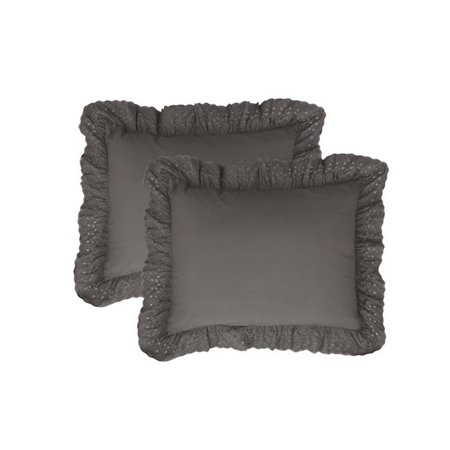 Fresh Ideas FRE30002GREY07 Ruffles Eyelet Shams Grey - Standard - Paquet de 2 - image 1 de 1