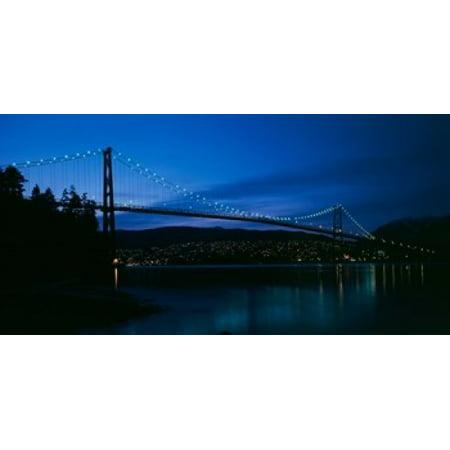 Lions Gate Bridge At Night Burrard Inlet Vancouver British Columbia Poster Print By Paul Souders