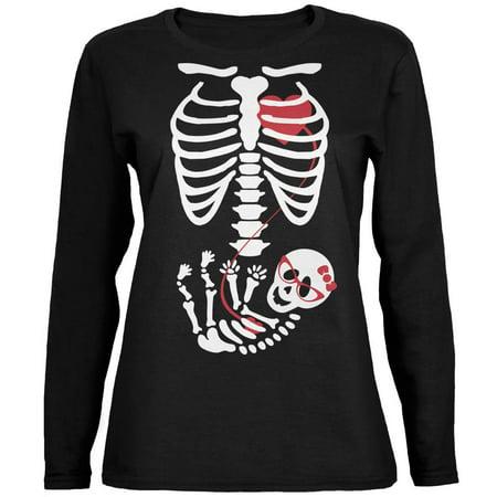 Old Lady Halloween Baby (Halloween Baby Geek Girl Glasses Skeleton Black Womens Long Sleeve)