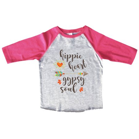 """Girls Bohemian Hippie 3/4 Sleeves """"Hippie Hear Gypsy Soul"""" Toddler & Youth Baseball Tee Small, Pink"""