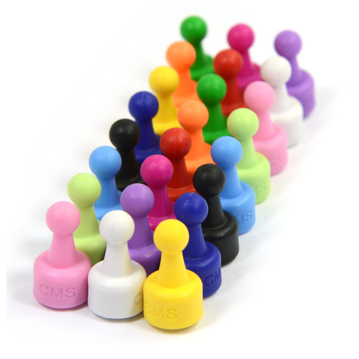 24 Ct. NeoPin® Assorted Color Magnetic Push pins - Super Strong Neodymium Magnets. Great for Magnetic Whiteboards, Refrigerators, other Applications