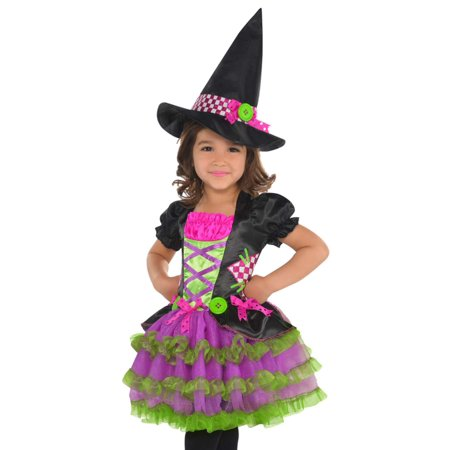 Toddler Girls Colorful Neon Stitch Witch Costume with Dress & Hat 2T Girl Costume Dress Hat Apron