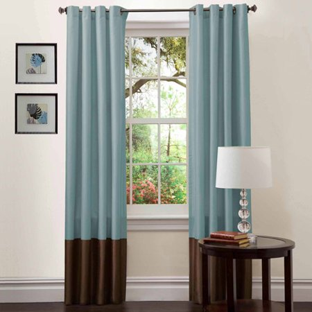 Prima Blue Chocolate Window Curtains Pair 54 X 84
