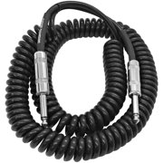 Seismic Audio 20 Foot Coiled Guitar or Instrument Cable - 1/4 Inch TS Straight Connectors - SAGCURL20