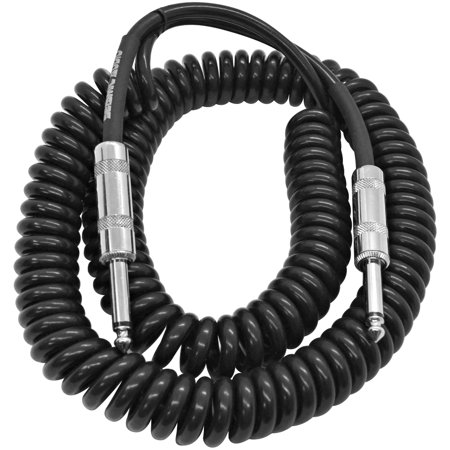 seismic audio 20 foot coiled guitar or instrument cable 1 4 inch ts straight connectors. Black Bedroom Furniture Sets. Home Design Ideas