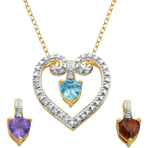1.31 Carat T.G.W. Genuine African Amethyst, Garnet and Sky Blue Topaz 2-Tone 18kt Yellow Gold over Sterling Silver Heart Pendant Set on Cable Chain, 18""