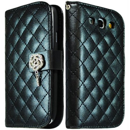 Bastex Black PU Leather Wallet Flip Case with Silver Flower Bling Cover for Samsung Galaxy S3 i9300