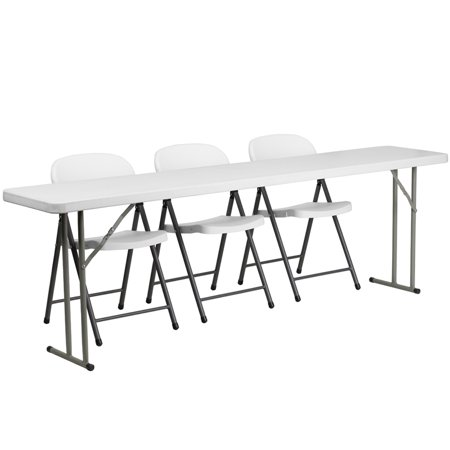 8' Folding Training Table Set, 3 White Plastic Folding Chairs ()
