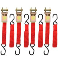 """Stark 1"""" x 15' ft Ratchet Tie Down Straps 1500 Lbs Breaking Limit Hauling Tie-Dow Strap (4-Pack), Red"""