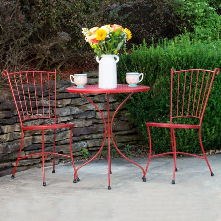 "Arlington House Red Wrought Iron 24"" Round Outdoor Bistro Set, Patio Furniture for Backyard, Porch and Garden"