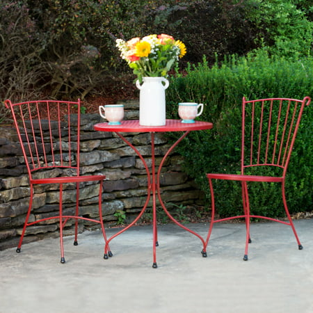 """outdoor patio furniture set at walmart   Arlington House Red Wrought Iron 24"""" Round Outdoor Bistro ..."""