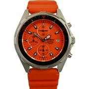 Mens AMW380-4AV Stainless Steel Watch with Orange Resin Band