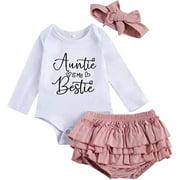 Infant Baby Girl Auntie Is My Bestie Letter Print Romper+Ruffle Tutu Shorts+Headband 3pcs Set