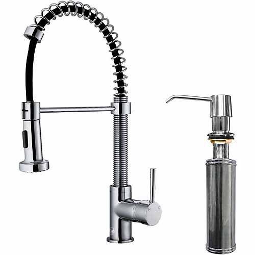 Vigo Pull-Out Spray Kitchen Faucet with Soap Dispenser