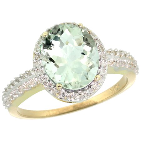 14K Yellow Gold Diamond Natural Green Amethyst Ring Ring Oval 10x8mm, sizes 5-10