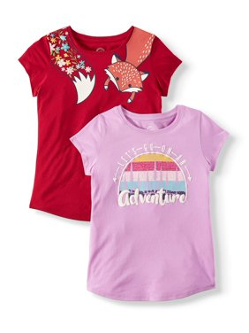 Wonder Nation Graphic T-Shirts, 2-Pack (Little Girls, Big Girls & Plus)