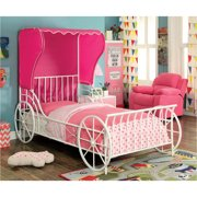 Charm Twin Carriage Bed in Pink/White