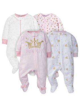 Gerber Assorted Zip Front Sleep N Play Sleepers, 4pk (Baby Girls)