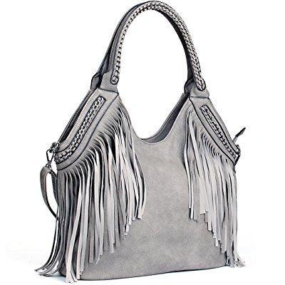 18aced015a ... joyson women handbags hobo shoulder pu leather fashion bag tassels gray