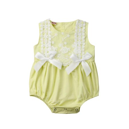 Infant Newborn Baby Girls Clothing Lace Bowknot Sleeveless Rompers Jumpsuit Cute Bow Sunsuit Summer Baby Clothes