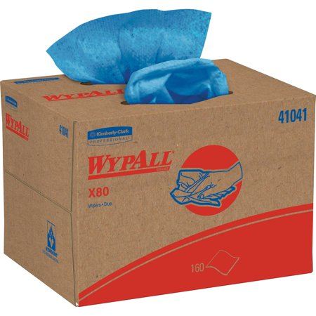 WypAll X80 Cloths, BRAG Box, HYDROKNIT, Blue, 12 1/2 x 16 4/5, 160 Wipers/Carton -KCC41041