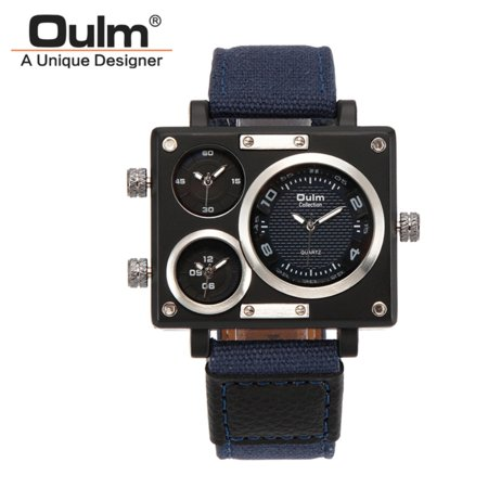 Montre-bracelet à quartz à bande de toile de luxe pour homme d'affaires OULM - image 1 de 7