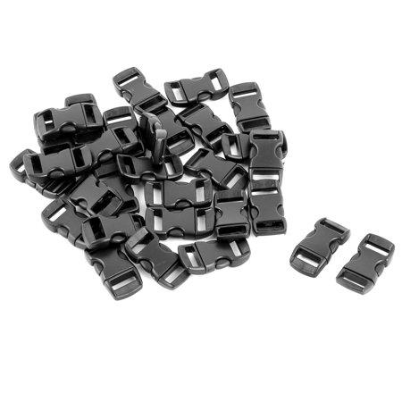 Quick Release Buckle (Bag Plastic Webbing Strap Adjustive Quick Release Buckle Fastener Black 30 Pcs)
