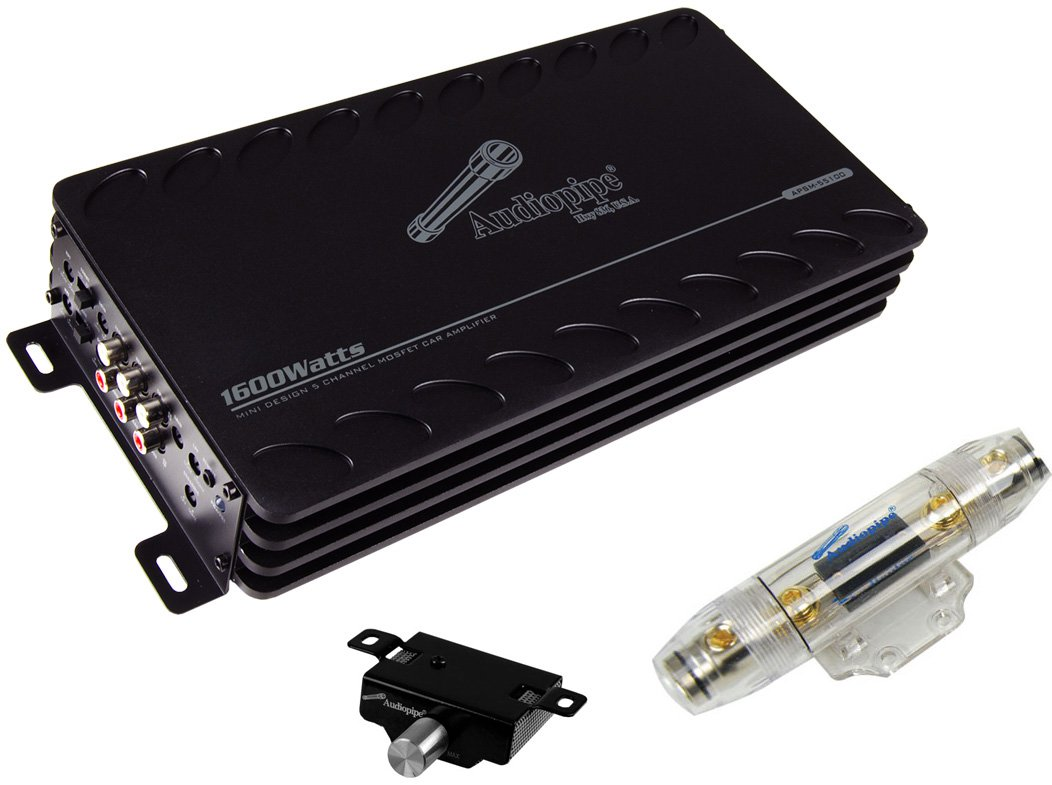 Audiopipe APSM-55100 1600W 5 Channel Car Mini Audio Amplifier + 4 Gauge Amp  Kit - Walmart.com