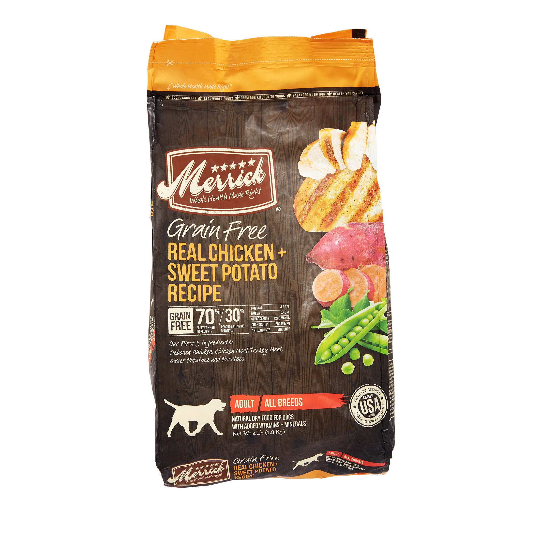 Merrick Grain-Free Real Chicken + Sweet Potato Recipe Dry Dog Food, 4 lb