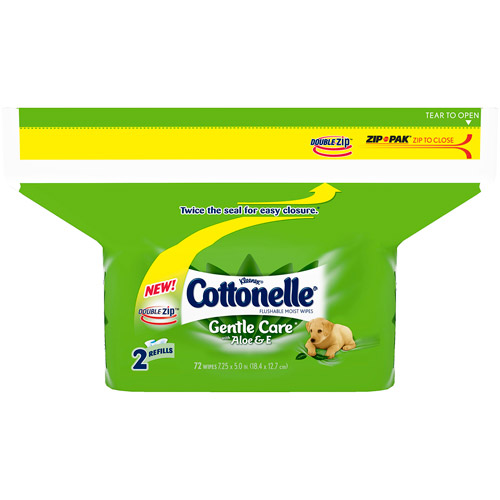 Cottonelle Gentle Care Flushable Moist Wipes with Aloe & E, 72 count