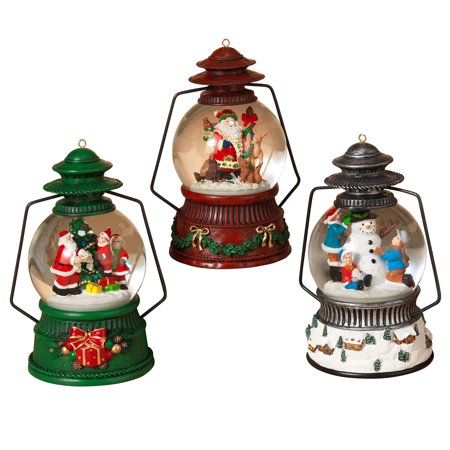 Family Snowglobe - 3 pc Light Up Christmas Snow Globe Lantern Fancy Holiday Figurine Santa Snowman