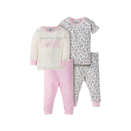 Gerber Mix N Match Cotton Tight Fit Pajamas, 4pc Set (Baby Girls & Toddler Girls) (Satin Pajamas Girls)