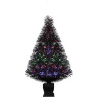 Holiday Time Fiber Optic Conical Christmas Tree 32 in, Black