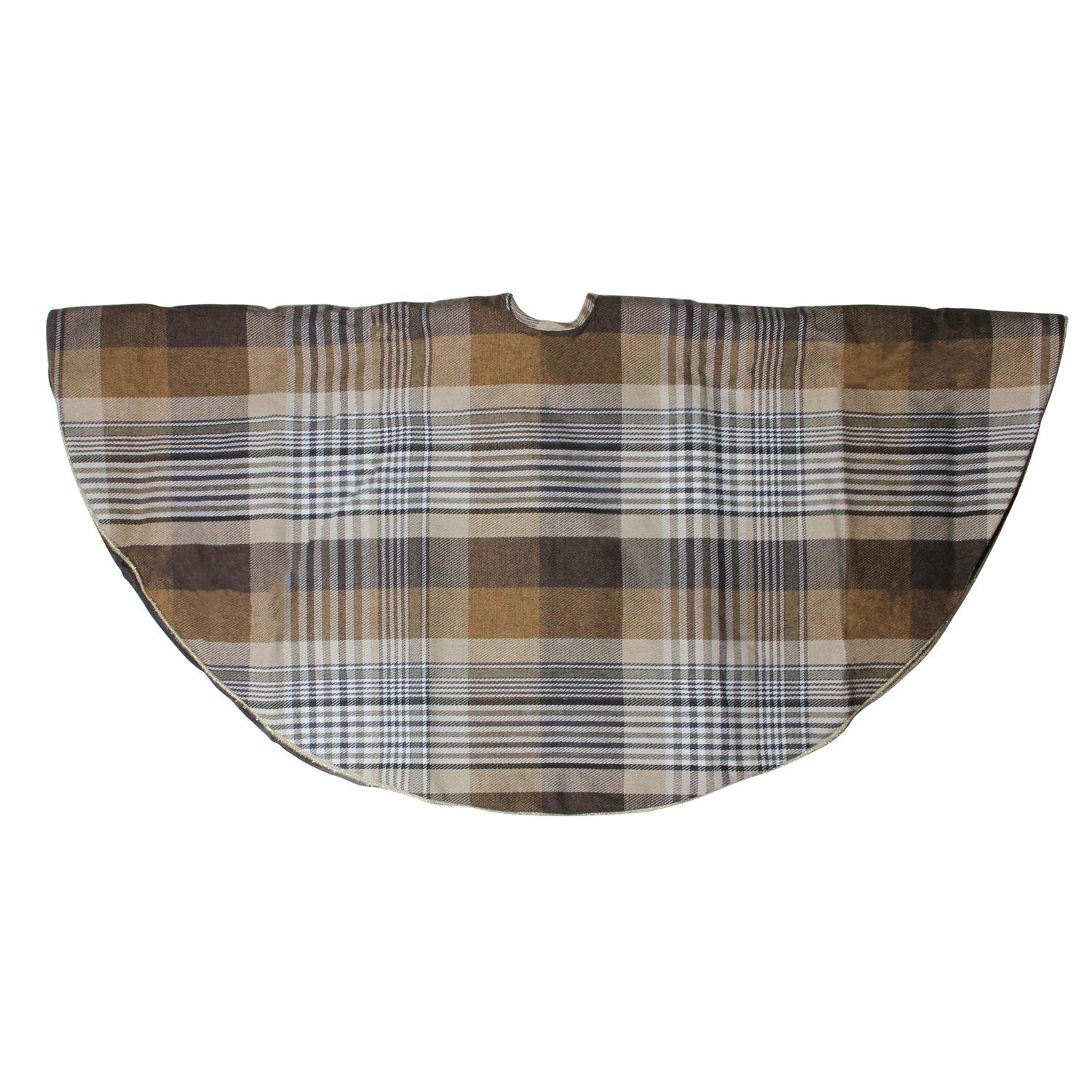 48 Brown Plaid Rustic Woodland Christmas Tree Skirt With Gold Trim Walmart Com Walmart Com