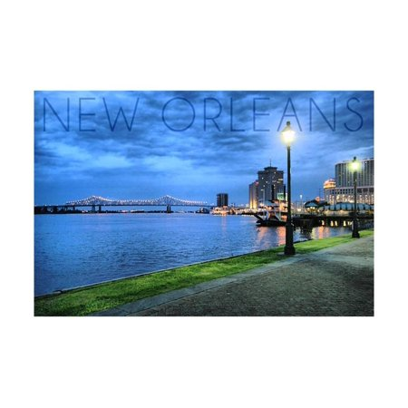 New Orleans, Louisiana - City and Bridge at Night Print Wall Art By Lantern Press