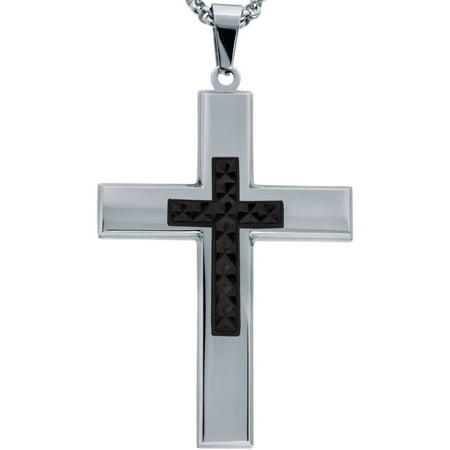 Jewelry Men's Stainless Steel Cross with Black Tone Diamond Cut Cross with Chain Black Diamond Travel Jewelry