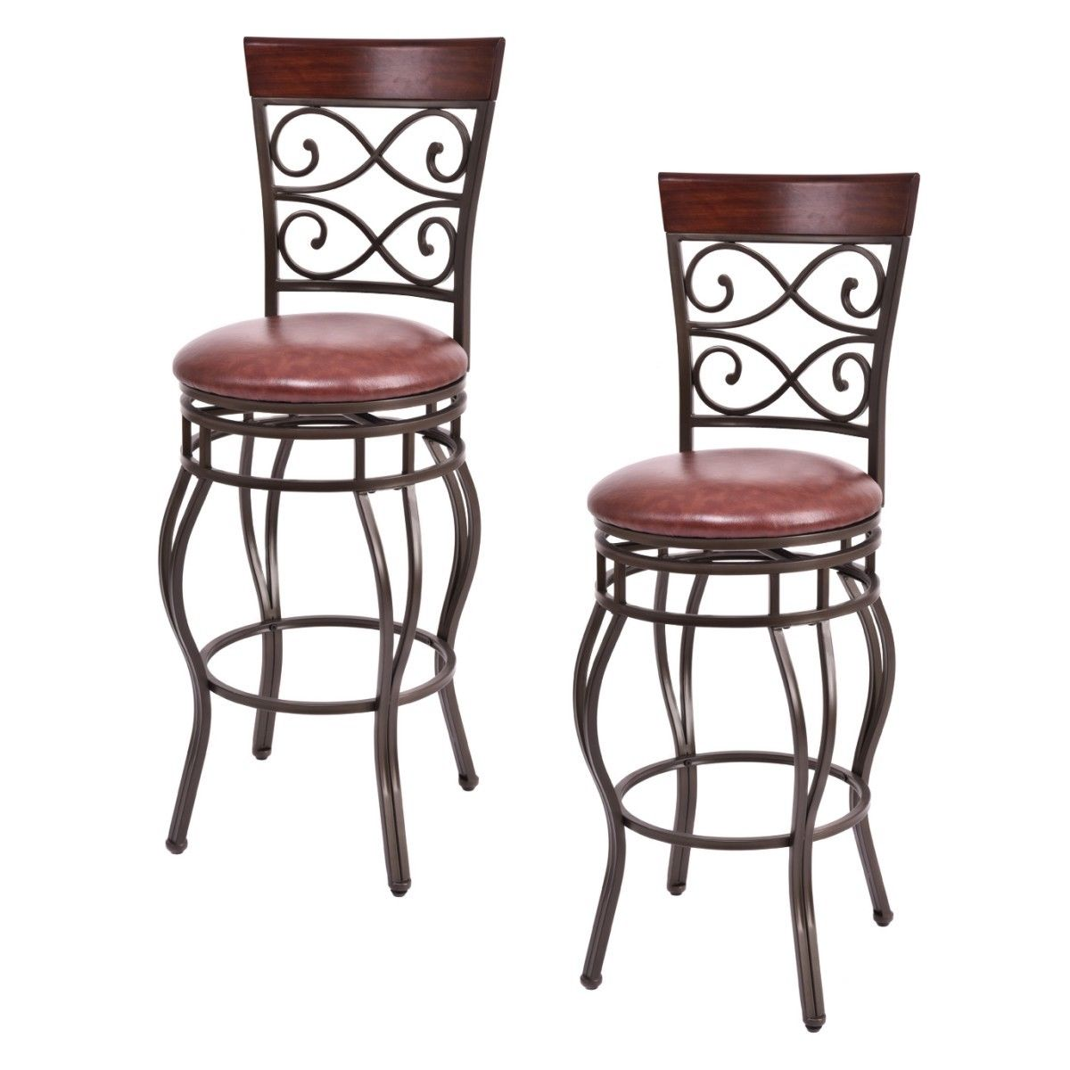 Costway Set of 2 Vintage Bar Stools Swivel Padded Seat Bistro Dining Kitchen Pub Chair by Costway
