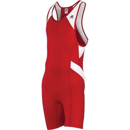(Men's Wrestling Sprinter Singlet Suit Extra large XL Red and...Material White Section:91% Polyester 9% Spande, By Russell Athletic)