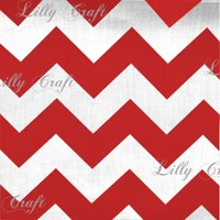 """Chevron 1"""" Red and White Poly Cotton 60 Inch Wide Fabric By the Yard"""