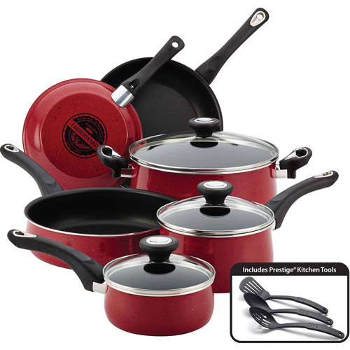 Farberware New Traditions Speckled Aluminum Nonstick 12-Piece Cookware Set, Red with Black Handles