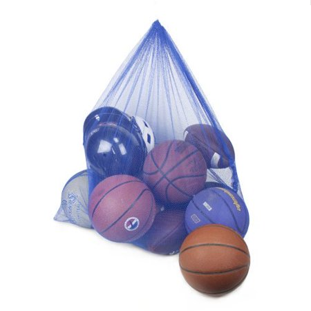 (Coaches Equipment Bag in Heavy Duty Mesh, Blue, High-quality mesh coaches' sports bag By Crown Sporting Goods)