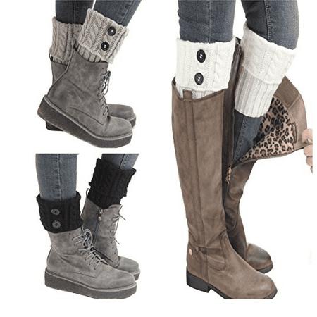 White Fur Leg Warmers (Short Boot Cuffs Dimore Knitted Leg Warmer Winter Crochet Socks Button)